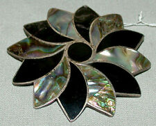 Antique Vintage Sterling Silver With Shell & Enamel Inlay Pin Brooch