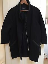 ISABEL MARANT BLACK Leather Trim COAT Jacket Cropped Sleeves 1 UK 8