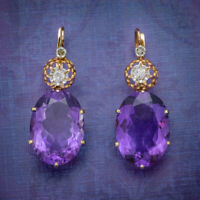 ANTIQUE VICTORIAN 18CT ROSE GOLD AMETHYST EARRINGS 16CT OF AMETHYST CIRCA 1900
