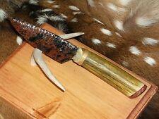Incredible Mahogany Obsidian Blade Knife with a Custom Deer Antler Handle