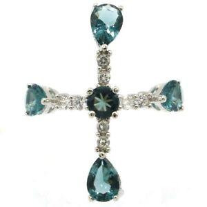 SheCrown Classic Cross Shape London Blue Topaz CZ Gift Silver Ring 7.5