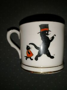 "Allertons China ""Black Cats"" rare pattern mug cup England"