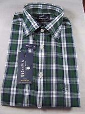NWT STAFFORD LONG SLEEVE DRESS SHIRT size 16 34-35 Reg. Fit, Green Plaid