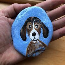 ORIGINAL HAND PAINTED Beagle K9 Dog Puppy Ooak BEACH ROCK Gift Terrier Art Stone
