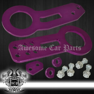 Universal Emergency Chassis Tow Towing Hook Trailer Aluminum Front+Rear Set Purp