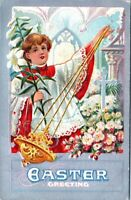 1910 Catholic Altar Boy Religious Lillies Embossed Vintage Easter Postcard BE