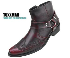 Men's Burgundy, Black Boots. White Pointed toe All Size15's