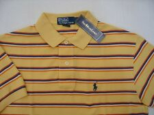 Polo Ralph Lauren Mens Pony Logo Shirt Small Mesh Yellow White Navy Striped $90