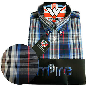 Warrior UK England Button Down Shirt ELGAR Hemd Slim-Fit Skinhead Mod S-M