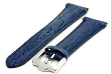 24 mm. Genuine Leather Strap with Regular Buckle - Blue