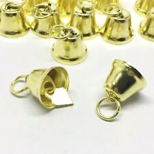 20 Pcs. Mini Gold Bells 10 mm Vintage Christmas Ornament Hanging Decorate Craft