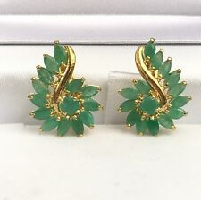 14k Solid Yellow Gold Cute Cluster French Clip Earrings,Natural Emerald 3TCW