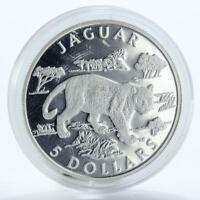 Cook Islands 5 dollars Jaguar silver coin 2002