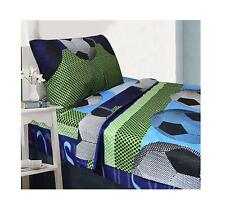All American Collection 3 Piece Twin Size Soccer Sheet Set, Matching Comforter
