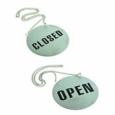 OPEN CLOSED SIGN STAINLESS STEEL WITH HANGING CHAIN BRAND-NEW ROUND 13cm DIAM