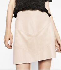 Zara Pink Faux Leather & Suede Contrast Mini Skirt L Large A-line