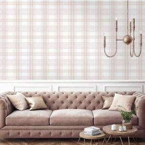 Superfresco Easy Rose Gold Pink Country Tartan Checkered Wallpaper Grey Blush