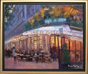 CAFE DE FLORE BY NIGHT~PARIS~LISTED ARTIST~ORIGINAL OIL PAINTING MARC FORESTIER