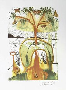 SALVADOR DALI Mad Tea Party Alice Wonderland Litho Print F/Signed