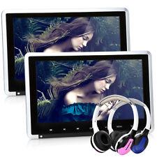 "2x 10.1"" Digital Screen Auto Kopfstützen TFT Monitor DVD Player HDMI+2 Kopfhörer"