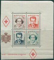 Monaco 1949 SG408 Red Cross Fund right block MS MH