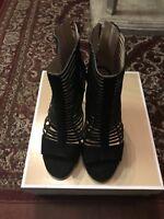 Women's Shoes MICHAEL Michael Kors ODELIA BOOTIE Open Toe Leather Black Size 9