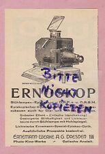 Dresden, advertising 1925, Ernemann Werke AG ernoskop Incandescent Lamps-epidiaskop