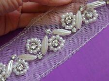 half meter/yard ivory trimming beaded pearl rhinestone edge fringe trim sewing
