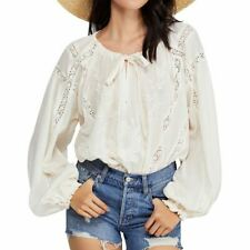 FREE PEOPLE NEW Women's Embroidered Lace Inset Peasant Blouse Shirt Top TEDO