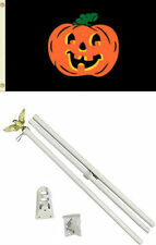 3x5 Happy Halloween Pumpkin Black Flag White Pole Kit Set 3'x5'