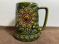 Vintage Lefton Green Floral Glazed Ceramic Stoneware Coffee Tea Mug Japan 5277