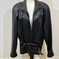 Men's Georgetown Leather Design Belted Black Jacket SZ LG Needs New Zipper