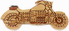 New DELUXE BIKERS MOTORCYCLE CRIBBAGE BOARD Game & Pegs- Cherry Wood- Made USA 1