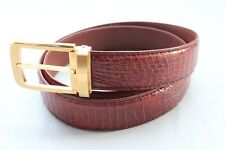 Unjointed Red Brown Genuine CROCODILE Belt SKIN LEATHER Men's Accessories