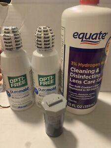 Opti free pure moist set of 2 (4oz each)+ Equate Cleaning Lens Care 12 Fl Oz Rea