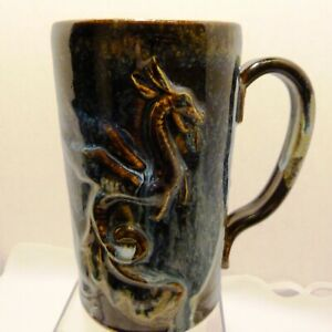 "Walter Aberson No.Carolina Studio Art Pottery Large 7"" Hand-Crafted Dragon Mug"