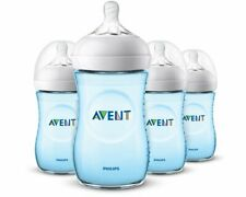 Philips Avent Natural Baby Bottles, 4 oz Wide-Neck Bottles, Blue Edition 4 Pack
