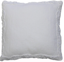White Ruffle Maple Shabby Chic Square Cushion Cover with Ruffle Trims