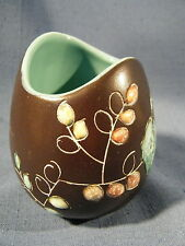 Pottery Vase Pot Brown & Turquoise Hand Decorated Canada by Herth Lovely