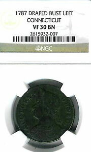 1787 Connecticut Colonial Draped Bust Left : NGC VF30