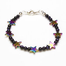 Blue Sandstone and Rainbow Hematite Star Bracelet