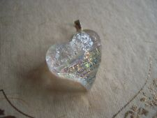 Vintage Necklace Pendant Sterling silver Dichroic Art Glass HEART pink pale blue