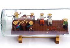 Wonderful intricate bottle whimsey 4 men playing dominoes 2 musicians, pig roast