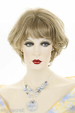 Light Ash Brown  Champagne Blonde Frost Blonde Short Wavy Wigs