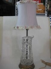 BEAUTIFUL OLD VINTAGE AMERICAN BRILLIANT CUT CRYSTAL GLASS PITCHER TABLE LAMP