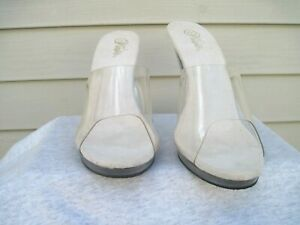 Pleaser Flair-401 Women's Sexy Clear Clear Heel Slide On Sandals Size 16 New