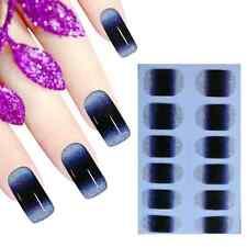 Full Wrap Premium Nail Art Stickers Decals Gradation Midnight Blue (DJU091)