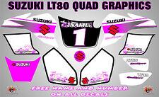 suzuki lt80 quad graphique autocollants nom-nombre lt 80 mx stratifié rose