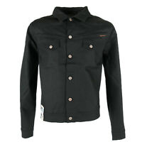 New Nudie Mens Dry Denim Jeans Jacket |Conny Dry Black Coated |Slim Fit