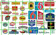 NH047 1/2 Set N SCALE MIXED FAST FOOD & HOTEL MOTEL SIGNAGE MODERN DAVE'S DECALS